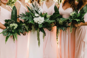 Liriodendron Wedding - green and white bridal party bouquets